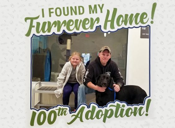 100th adoption from the Linda Kelley Animal Shelter